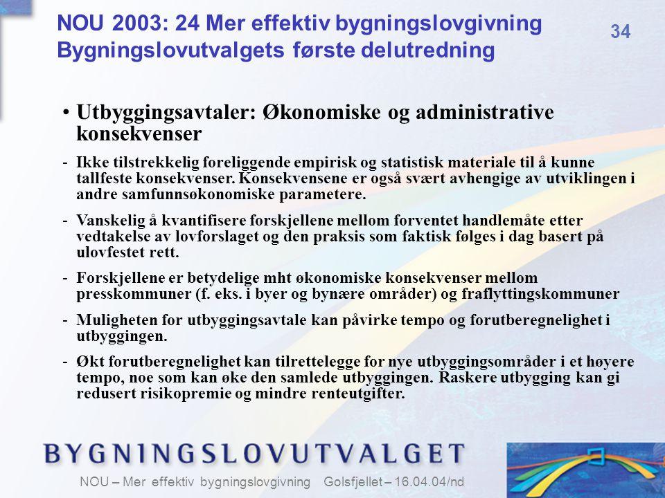 Utbyggingsavtaler: Økonomiske og administrative konsekvenser