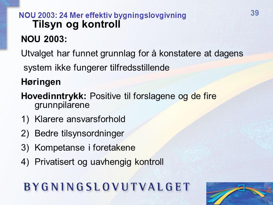 Tilsyn og kontroll NOU 2003: