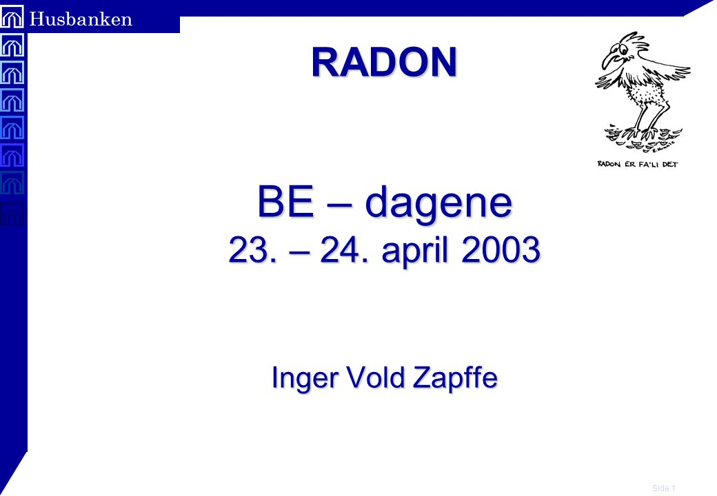 RADON BE – dagene 23. – 24. april 2003 Inger Vold Zapffe