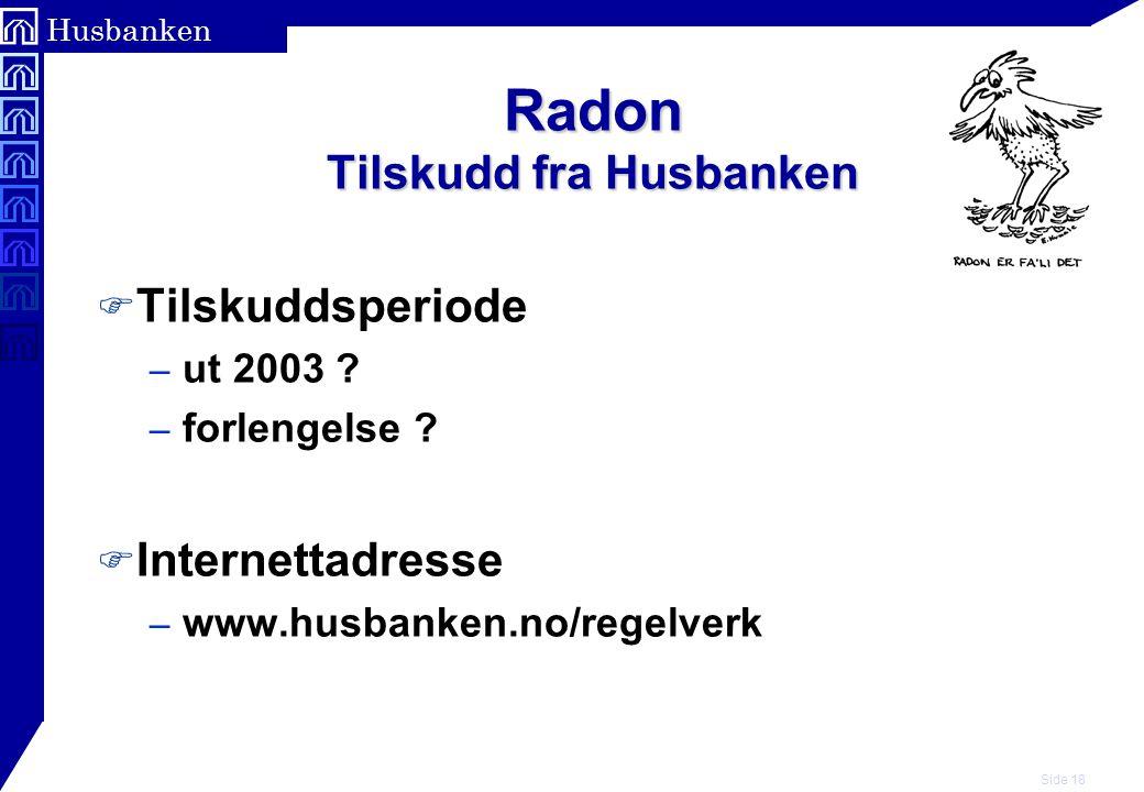 Radon Tilskudd fra Husbanken