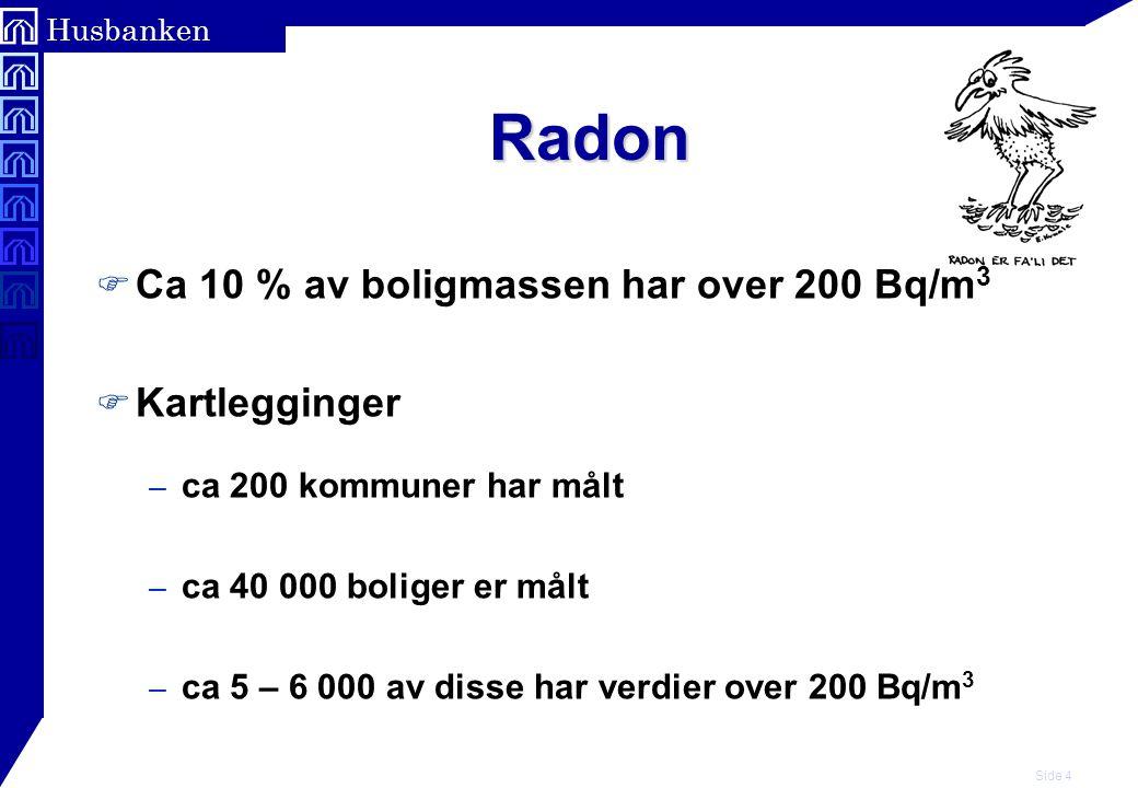 Radon Ca 10 % av boligmassen har over 200 Bq/m3 Kartlegginger
