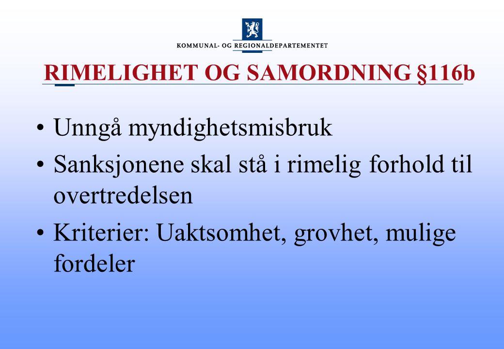 RIMELIGHET OG SAMORDNING §116b
