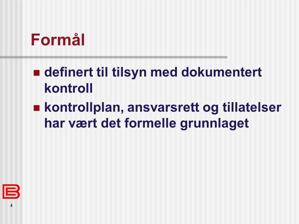 Formål definert til tilsyn med dokumentert kontroll