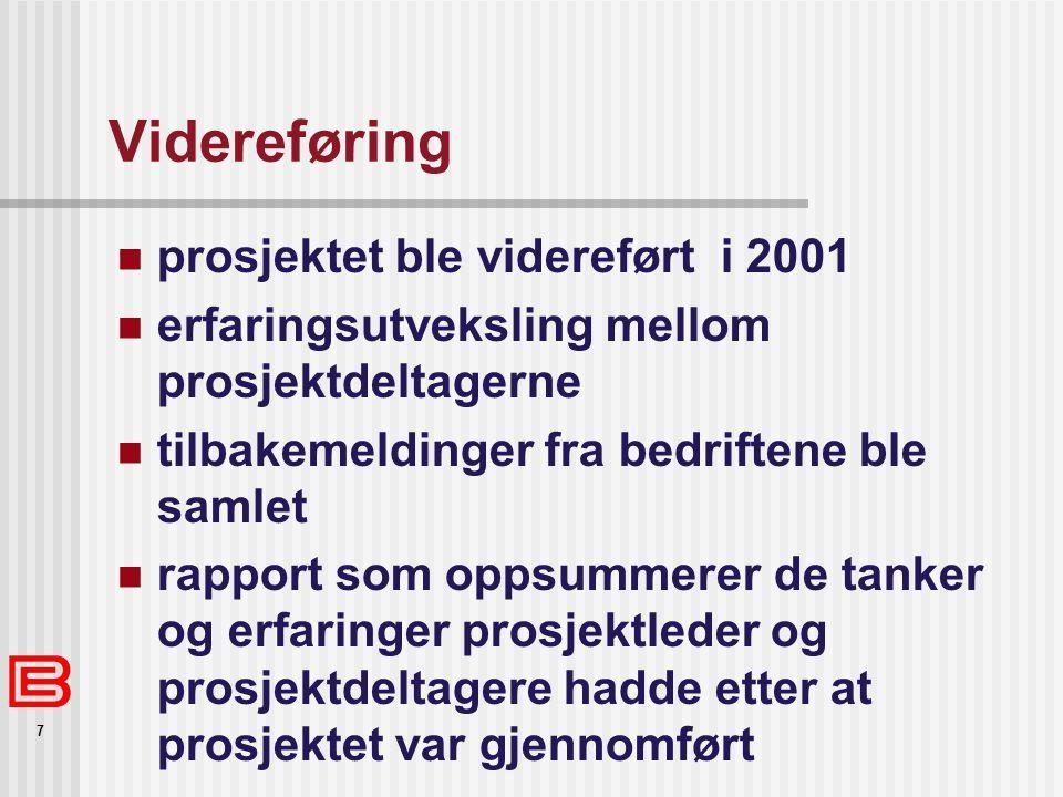 Videreføring prosjektet ble videreført i 2001