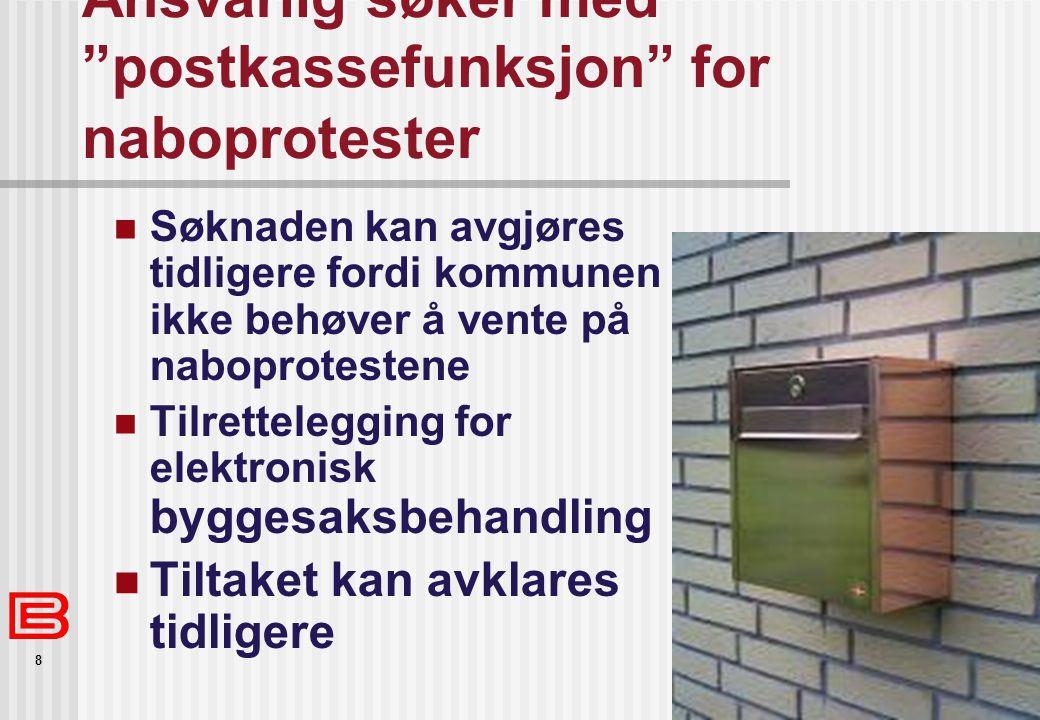 Ansvarlig søker med postkassefunksjon for naboprotester