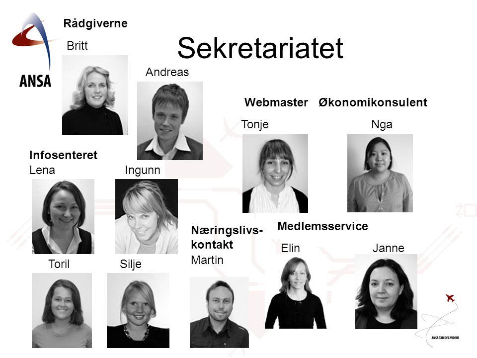 Sekretariatet Rådgiverne Britt Andreas Webmaster Økonomikonsulent