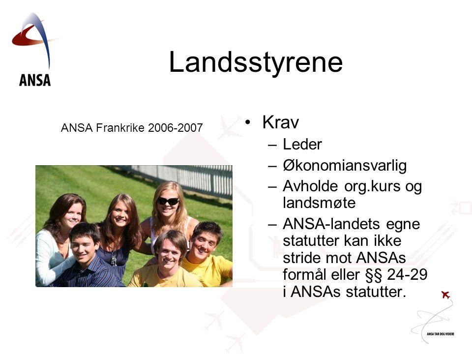 Landsstyrene Krav Leder Økonomiansvarlig Avholde org.kurs og landsmøte