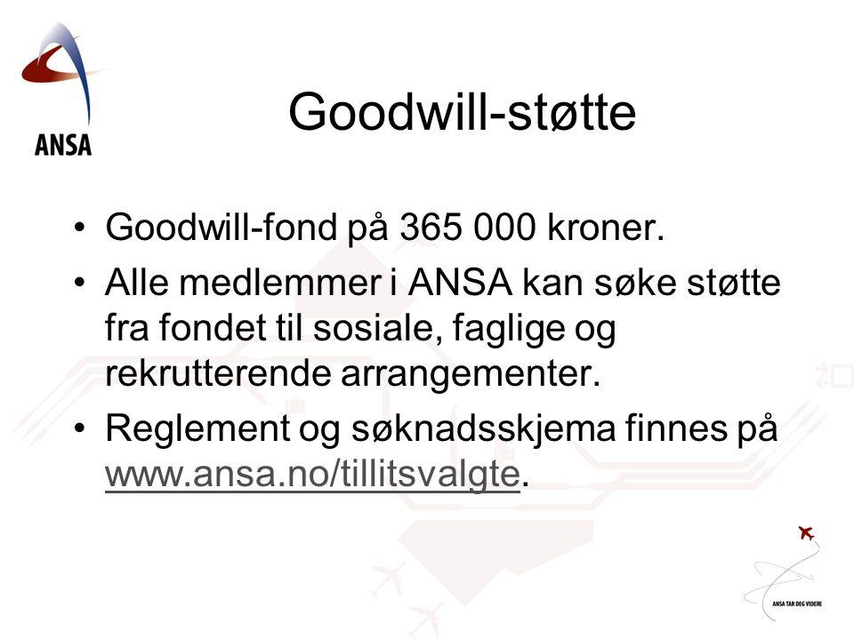 Goodwill-støtte Goodwill-fond på 365 000 kroner.