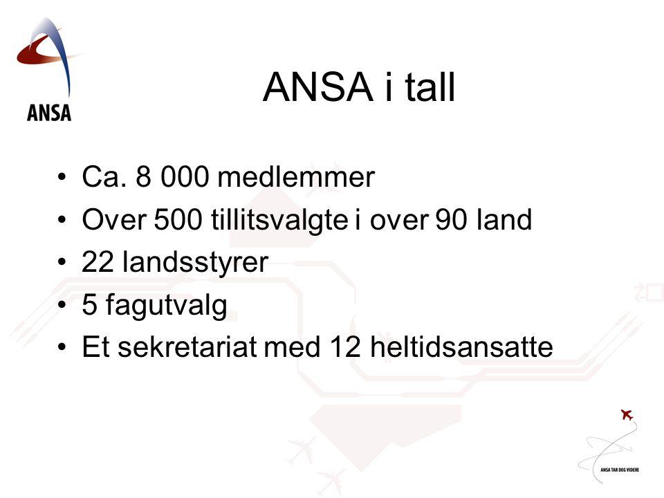 ANSA i tall Ca. 8 000 medlemmer Over 500 tillitsvalgte i over 90 land