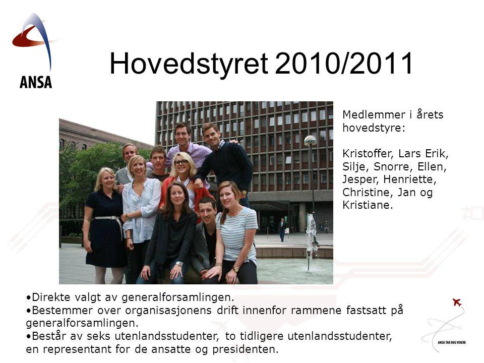 Hovedstyret 2010/2011 Medlemmer i årets hovedstyre: