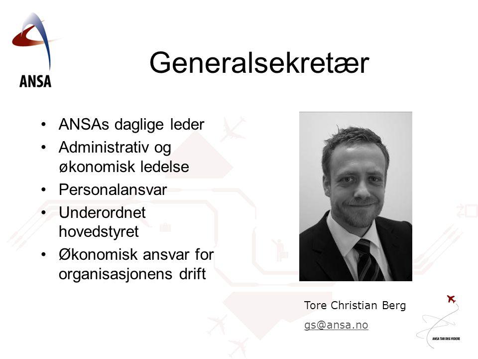 Generalsekretær ANSAs daglige leder Administrativ og økonomisk ledelse