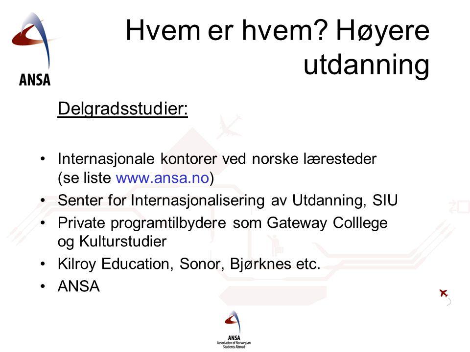 Hvem er hvem Høyere utdanning
