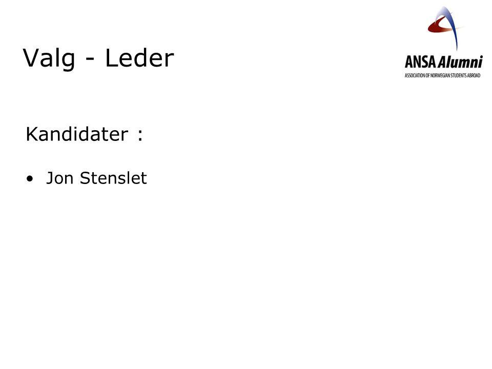 Valg - Leder Kandidater : Jon Stenslet Velkommen. Takk til styret.