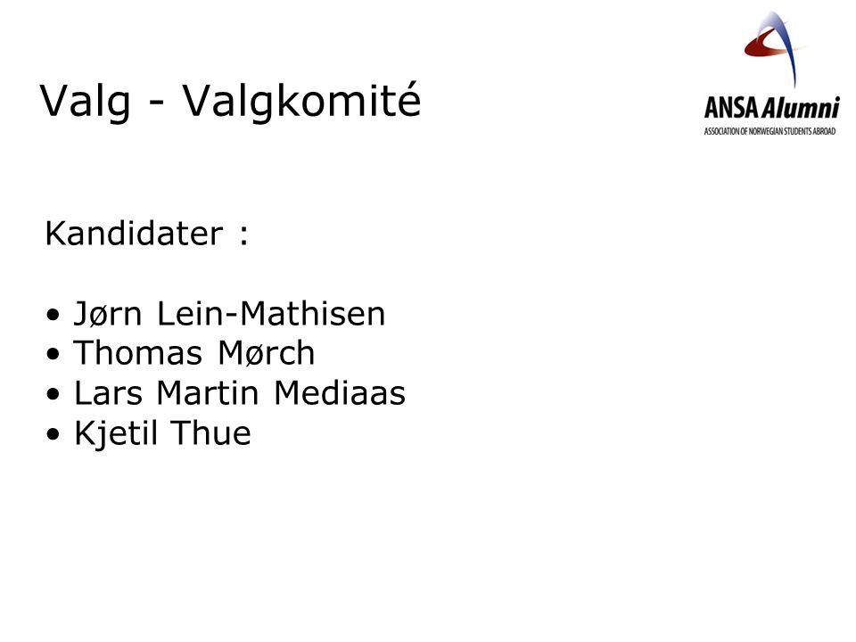 Valg - Valgkomité Kandidater : Jørn Lein-Mathisen Thomas Mørch