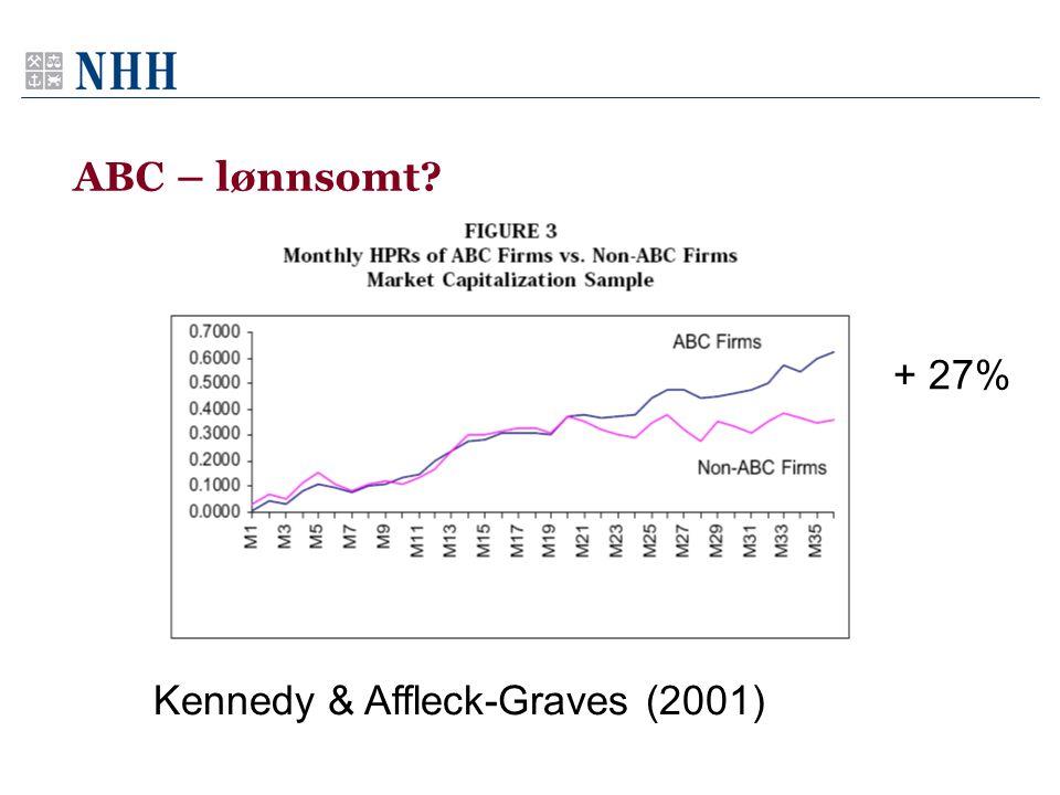 ABC – lønnsomt + 27% Kennedy & Affleck-Graves (2001)