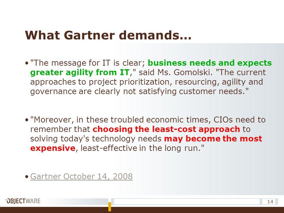 What Gartner demands…