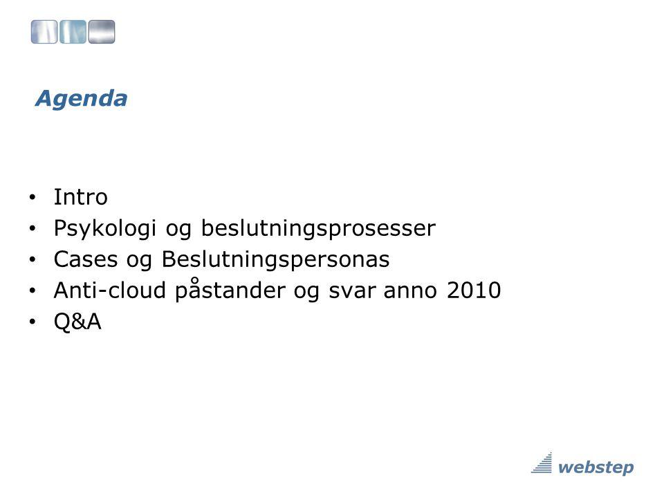 Agenda Intro. Psykologi og beslutningsprosesser. Cases og Beslutningspersonas. Anti-cloud påstander og svar anno 2010.