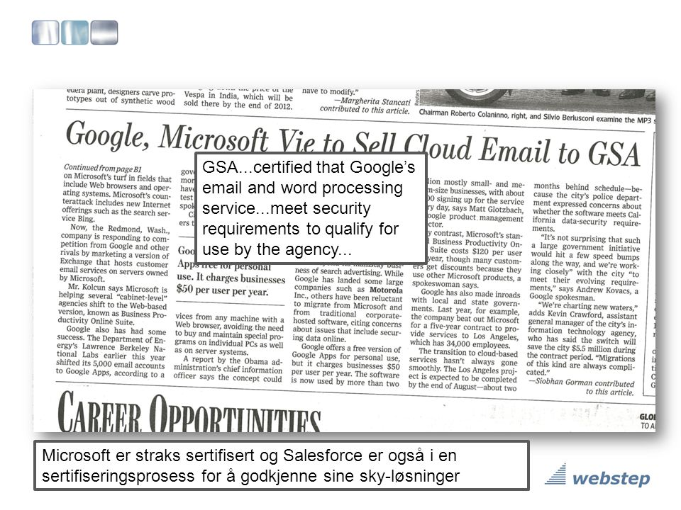 GSA. certified that Google's email and word processing service