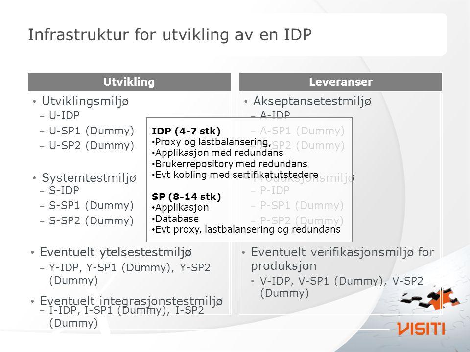 Infrastruktur for utvikling av en IDP
