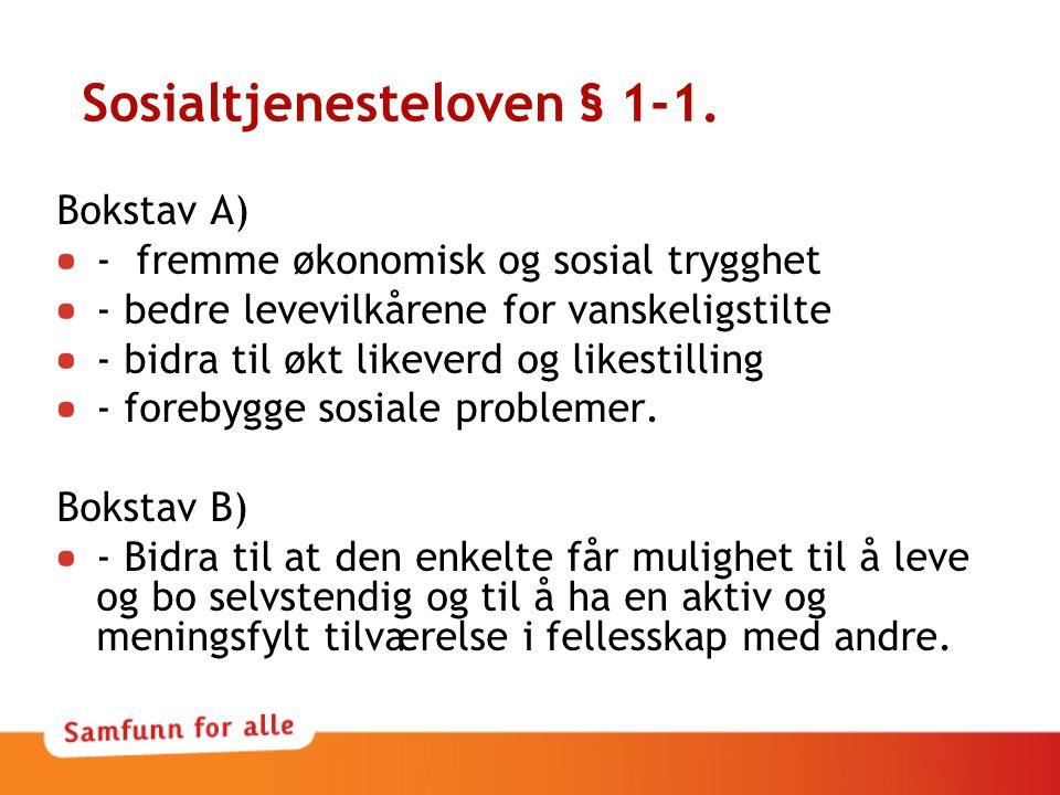 Sosialtjenesteloven § 1-1.