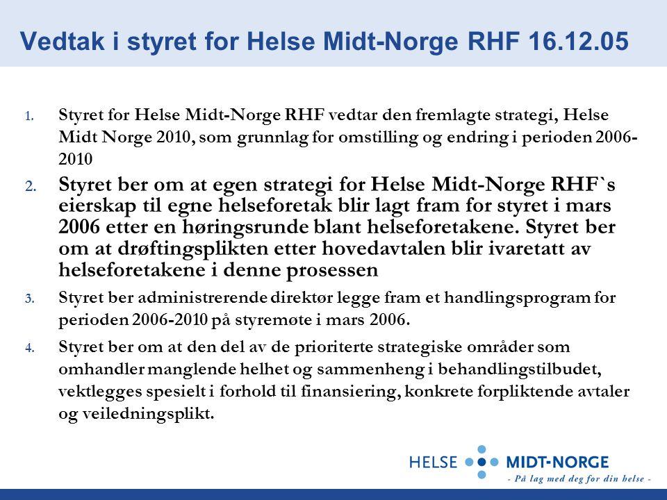 Vedtak i styret for Helse Midt-Norge RHF 16.12.05