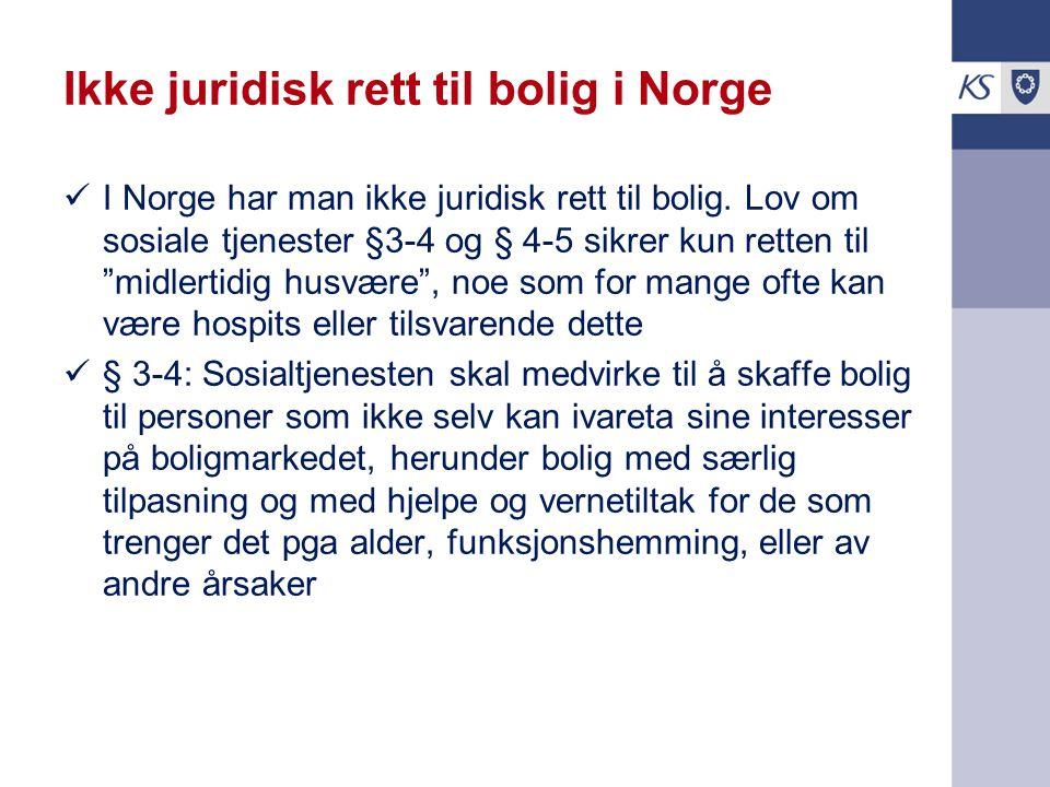 Ikke juridisk rett til bolig i Norge
