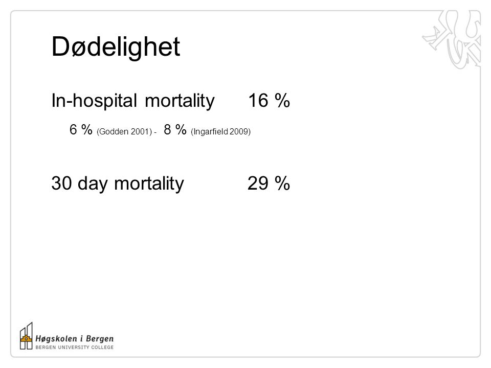 Dødelighet In-hospital mortality 16 % 6 % (Godden 2001) - 8 % (Ingarfield 2009) 30 day mortality 29 %