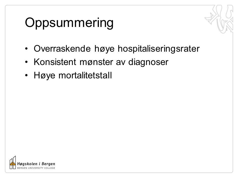 Oppsummering Overraskende høye hospitaliseringsrater