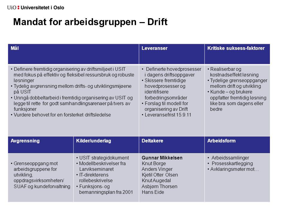 Mandat for arbeidsgruppen – DriftM