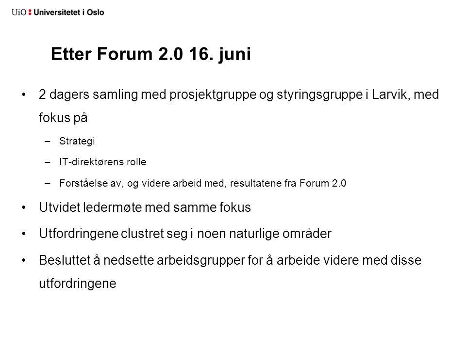 Etter Forum 2.0 16. juni 2 dagers samling med prosjektgruppe og styringsgruppe i Larvik, med fokus på.