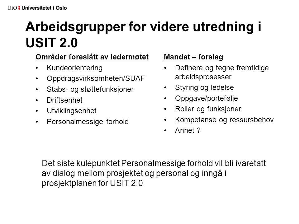 Arbeidsgrupper for videre utredning i USIT 2.0