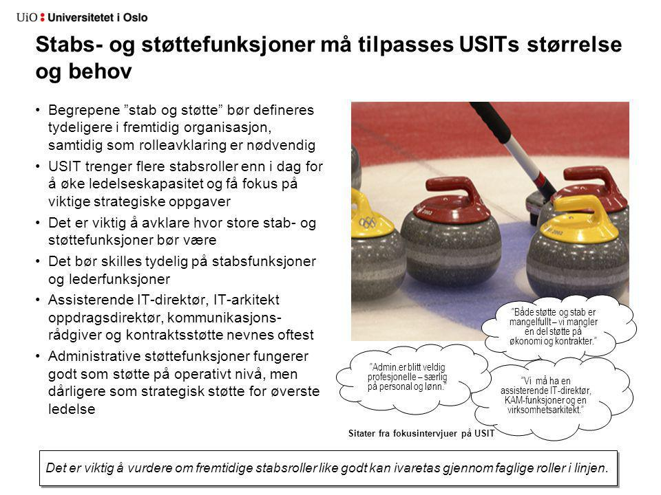 Stabs- og støttefunksjoner må tilpasses USITs størrelse og behov