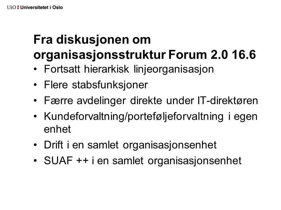 Fra diskusjonen om organisasjonsstruktur Forum 2.0 16.6