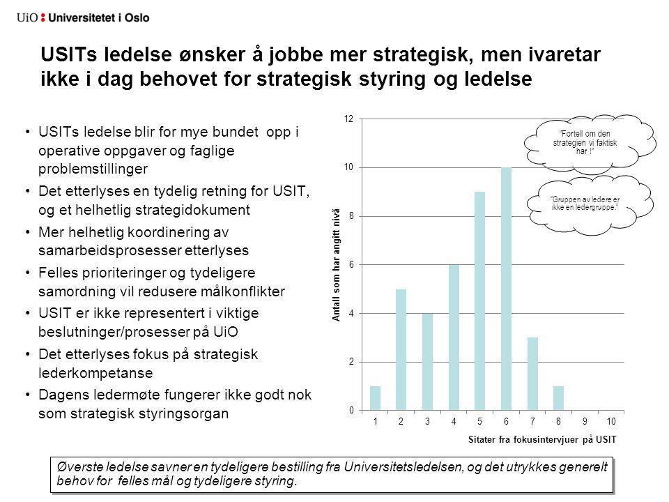USITs ledelse ønsker å jobbe mer strategisk, men ivaretar ikke i dag behovet for strategisk styring og ledelse
