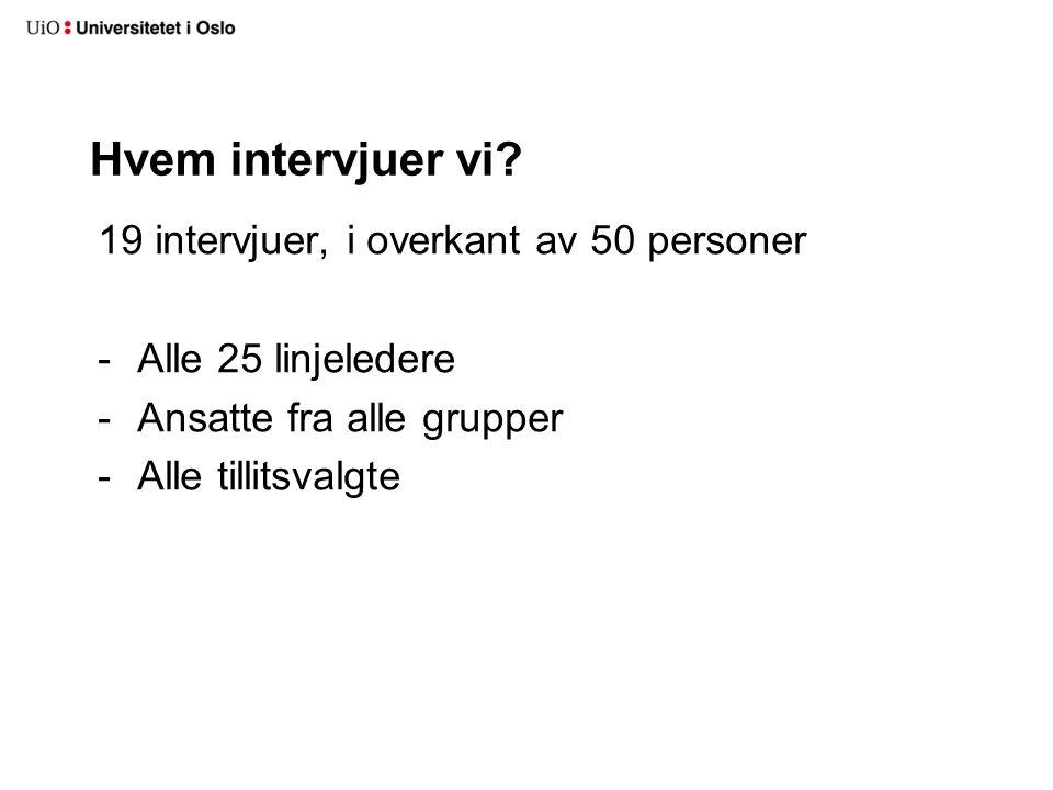 Hvem intervjuer vi 19 intervjuer, i overkant av 50 personer