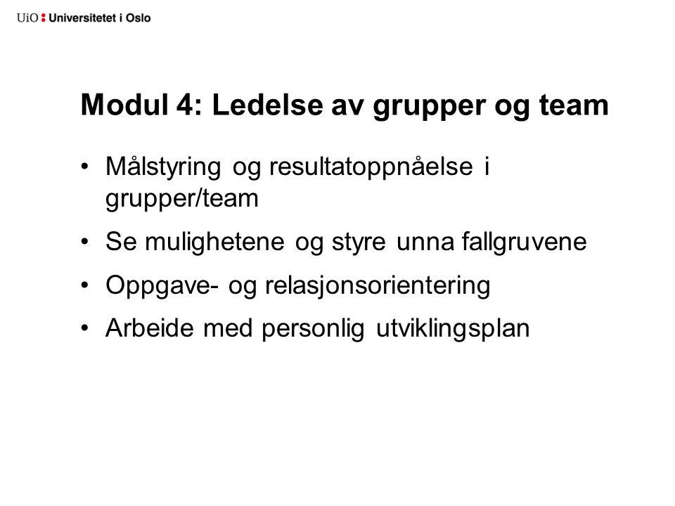 Modul 4: Ledelse av grupper og team