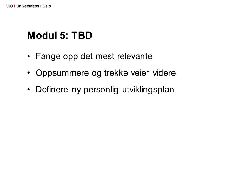 Modul 5: TBD Fange opp det mest relevante