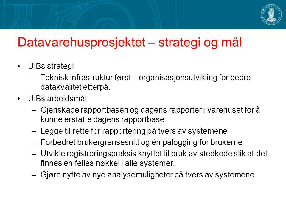 Datavarehusprosjektet – strategi og mål