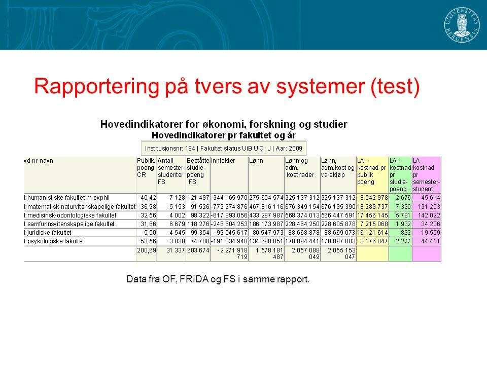 Data fra OF, FRIDA og FS i samme rapport.