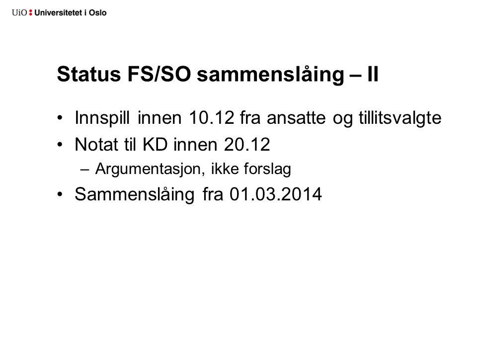 Status FS/SO sammenslåing – II