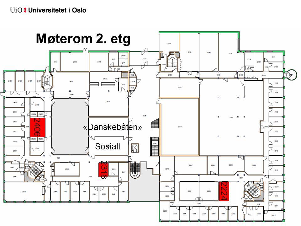 Møterom 2. etg 2406 «Danskebåten» Sosialt 2318 2224
