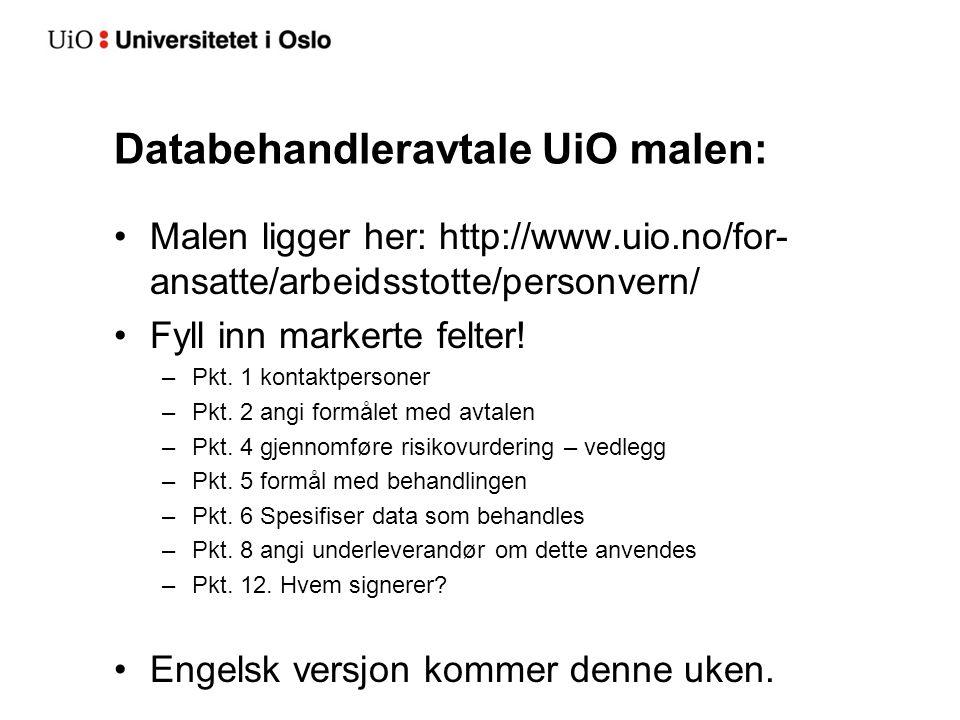Databehandleravtale UiO malen: