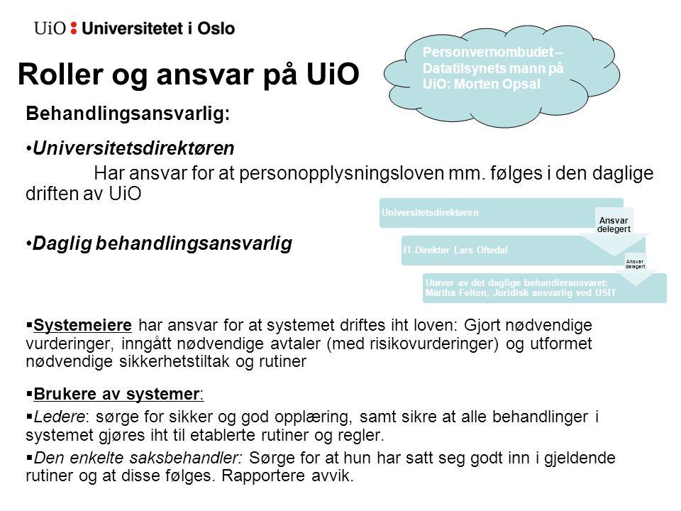 Roller og ansvar på UiO Behandlingsansvarlig: Universitetsdirektøren