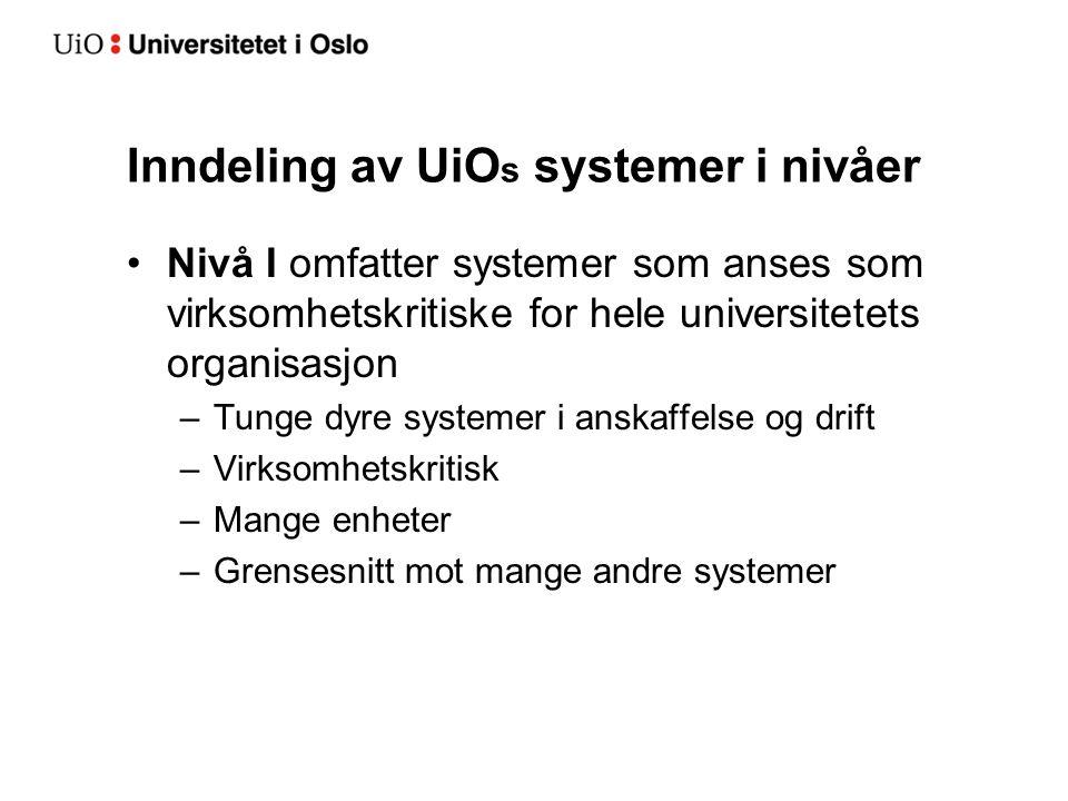 Inndeling av UiOs systemer i nivåer
