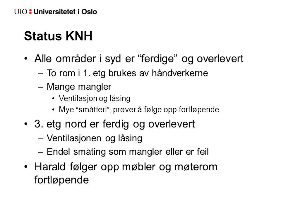 Status KNH Alle områder i syd er ferdige og overlevert