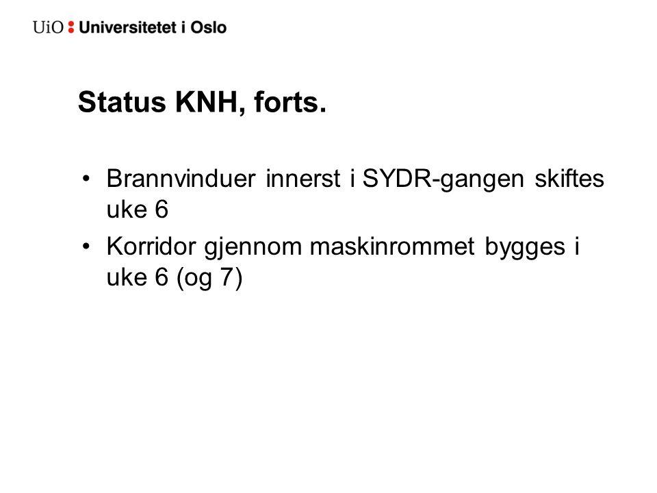 Status KNH, forts. Brannvinduer innerst i SYDR-gangen skiftes uke 6