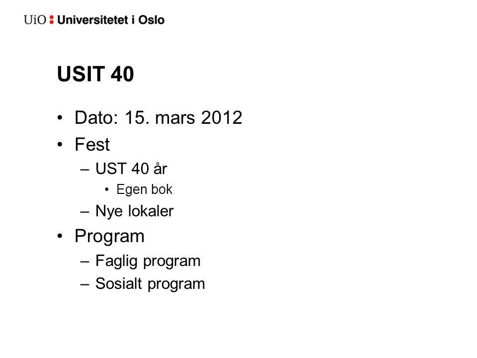 USIT 40 Dato: 15. mars 2012 Fest Program UST 40 år Nye lokaler