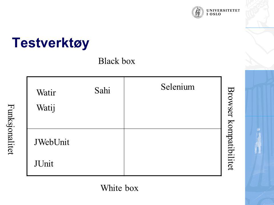 Testverktøy Black box Selenium Sahi Watir Browser kompatibilitet Watij