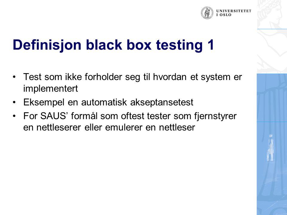 Definisjon black box testing 1
