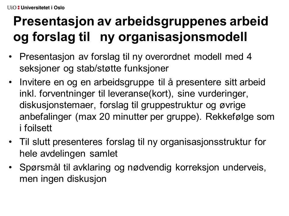 Presentasjon av arbeidsgruppenes arbeid og forslag til